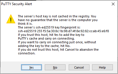How to use PuTTY? Accept new connection