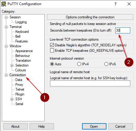 How to use PuTTY? KeepAlive setup