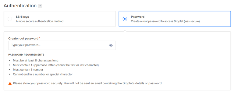DigitalOcean SSH Password